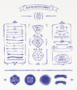 Blue pen graphic elements and design Royalty Free Stock Photography