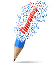 Blue pencil with red Thursday. Stock Image