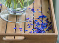 Blue petals fallen from the bouquet wooden tray with a transparent glass vase with green stems a of flowers and already off Royalty Free Stock Photo