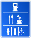 Blue petrol station icon with gas food coffee cup and wc Stock Photos