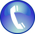 Blue phone button Royalty Free Stock Photo