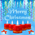 Blue picture with christmas candles streamers and icicles festive image of burning on the background of the inscription merry Royalty Free Stock Image