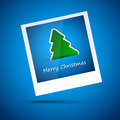 Blue picture of merry christmas tree and new year Stock Photo