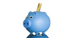 Blue piggy bank with australian dollars a piggybank in it on white Stock Images