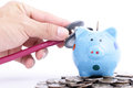 Blue piggy bank with stethoscope for check your finance Royalty Free Stock Photography