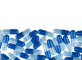 Blue pills isolated on white background background Stock Photo