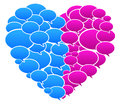 Blue and pink colored speech bubbles heart shape vector illustration Stock Image