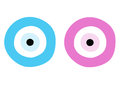 Blue and pink evil eye - symbol of protection