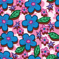 Blue pink flower line style vertical seamless pattern Royalty Free Stock Photo