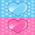 Blue and Pink hearts Stock Photography