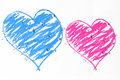 Blue and pink hearts doodle Royalty Free Stock Photo