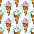 Blue and pink ice creams seamless pattern. Bright print for textile and stationery design.