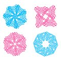 Blue and pink openwork snowflakes