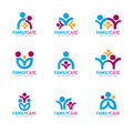 Blue pink orange Family care logo vector design