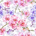 Blue and pink orchid flowers with outlines on white background. Seamless floral pattern. Watercolor painting.
