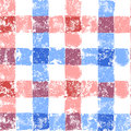 Blue and pink pastel colored checkered grunge gingham seamless pattern, vector Royalty Free Stock Photo