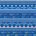 Blue pink tribal arrows seamless pattern Royalty Free Stock Photo