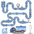 Blue pipeline background illustration of a system image Stock Images