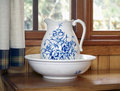 Blue pitcher and wash basin Royalty Free Stock Image