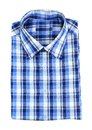 Blue plaid shirt vertical on white background Royalty Free Stock Photo