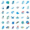 Blue plane icons set, isometric style Royalty Free Stock Photo
