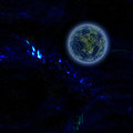 Blue planet on dark background Stock Image