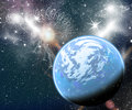 Blue planet in space planets end stars with galaxes Royalty Free Stock Photo
