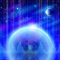 Blue planets, chemical formulas, digital wave Royalty Free Stock Photo