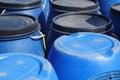 Blue plastic 200 litre barrel Royalty Free Stock Photos