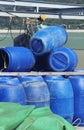 Blue plastic 200 litre barrel Royalty Free Stock Images