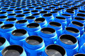 The blue plastic barrels for  chemicals Royalty Free Stock Photo