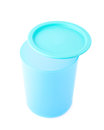Blue plastic beaker cup with a cap isolated over the white background Stock Photography