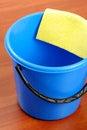 Blue plastic bucket and napkin Royalty Free Stock Photo