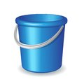 Blue plastic bucket  on white background Stock Images