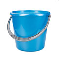 Blue plastic bucket on a white background Royalty Free Stock Photo