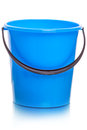 Blue plastic bucket on white Royalty Free Stock Photo