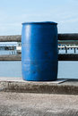 Blue plastic litre open top barrel Stock Images