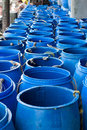 Blue plastic litre water in open top barrel Royalty Free Stock Photography