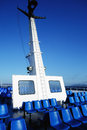 Blue Plastic Seats on Greek Ferry Royalty Free Stock Photo