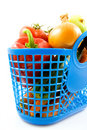 Blue plastic shopping bag with grocery Stock Photos