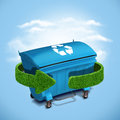 Blue plastic trash recycling container ecology concept Royalty Free Stock Photo