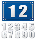 Blue plate vector illustration of with numbers Royalty Free Stock Images