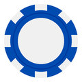 Blue Poker Chip Flat Icon Isolated on White