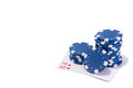 Blue poker chips and cards Royalty Free Stock Photo