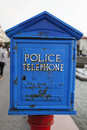 Blue Police Phone Box Royalty Free Stock Photo