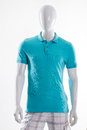 Blue polo t-shirt on mannequin. Royalty Free Stock Photo