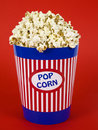 Blue popcorn bucket Royalty Free Stock Photo