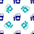 Blue Popcorn in cardboard box and paper glass with drinking straw and water icon isolated seamless pattern on white Royalty Free Stock Photo