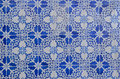 Blue portuguese tile in a facade of a building in lisbon portugal Royalty Free Stock Photo
