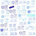 Blue postmarks backgrounds Royalty Free Stock Images